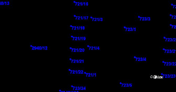 Parcela st. 721/4 v k.ú. Sedlčany, Katastrální mapa