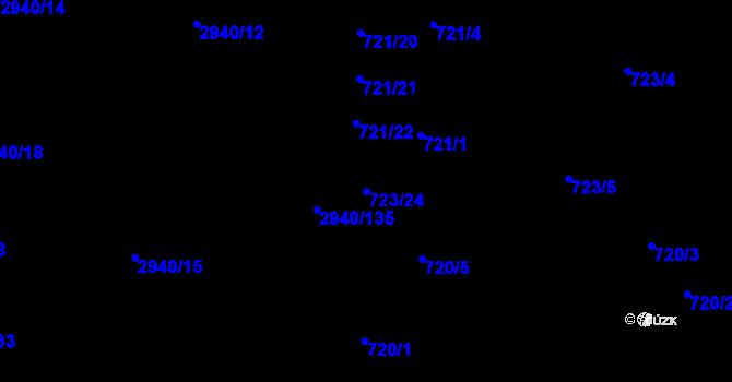 Parcela st. 723/24 v k.ú. Sedlčany, Katastrální mapa