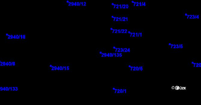 Parcela st. 2940/135 v k.ú. Sedlčany, Katastrální mapa