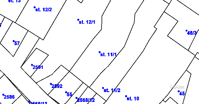 Parcela st. 11/1 v k.ú. Sedlejov, Katastrální mapa