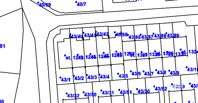 Parcela st. 1245 v k.ú. Semtín, Katastrální mapa