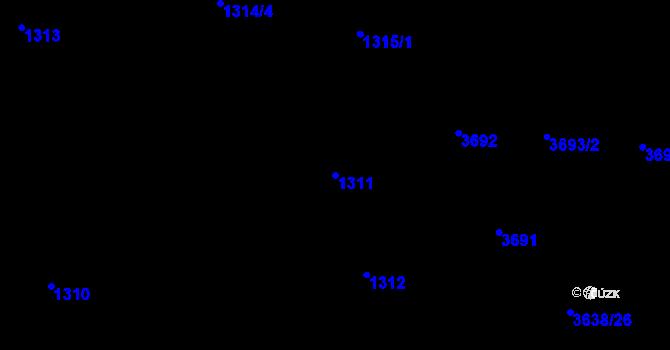 Parcela st. 1311 v k.ú. Skřečoň, Katastrální mapa