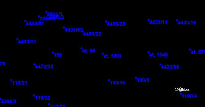 Parcela st. 1201 v k.ú. Slavičín, Katastrální mapa