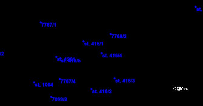 Parcela st. 416/4 v k.ú. Slavonice, Katastrální mapa