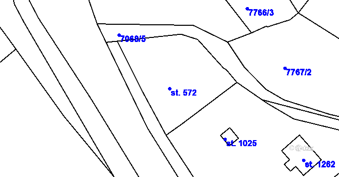 Parcela st. 572 v k.ú. Slavonice, Katastrální mapa