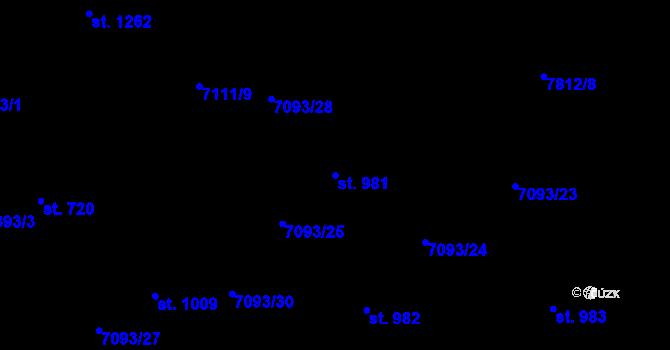 Parcela st. 981 v k.ú. Slavonice, Katastrální mapa