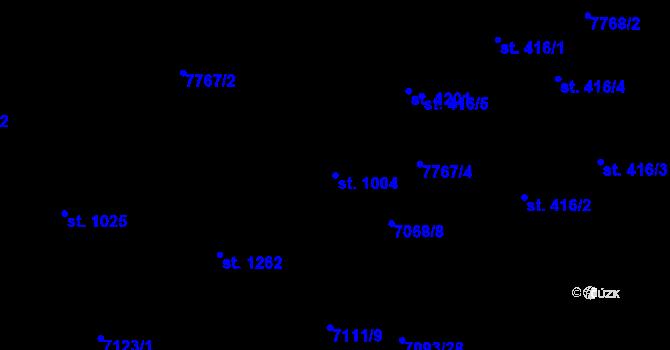 Parcela st. 1004 v k.ú. Slavonice, Katastrální mapa