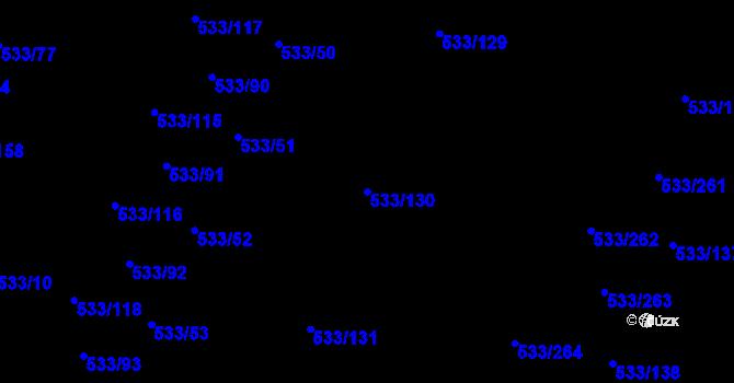 Parcela st. 533/130 v k.ú. Slavonín, Katastrální mapa