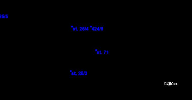 Parcela st. 71 v k.ú. Kojatín, Katastrální mapa