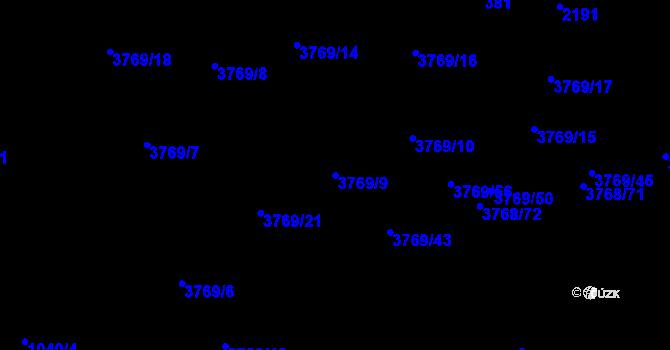 Parcela st. 3769/9 v k.ú. Soběslav, Katastrální mapa