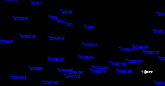 Parcela st. 3769/17 v k.ú. Soběslav, Katastrální mapa
