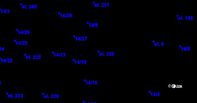 Parcela st. 226 v k.ú. Počerny, Katastrální mapa