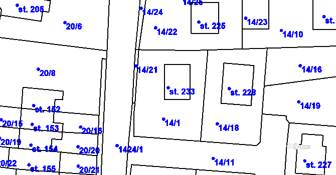 Parcela st. 233 v k.ú. Počerny, Katastrální mapa