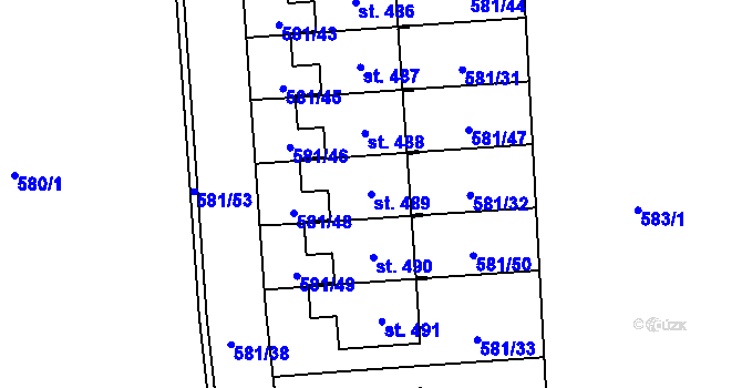 Parcela st. 489 v k.ú. Staré Čívice, Katastrální mapa