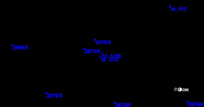 Parcela st. 3736 v k.ú. Staré Hamry 1, Katastrální mapa