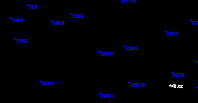 Parcela st. 328/17 v k.ú. Staré Hodějovice, Katastrální mapa