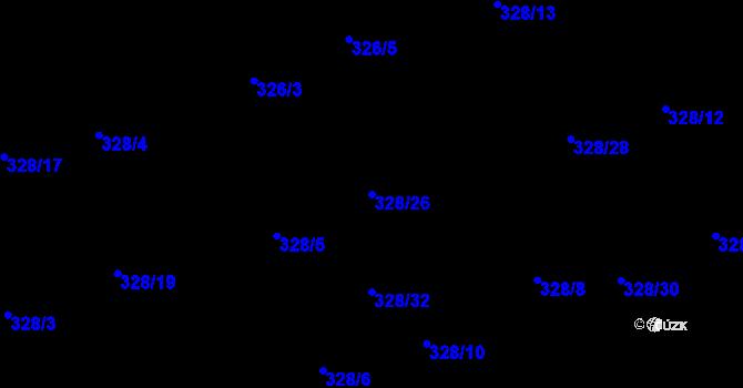 Parcela st. 328/26 v k.ú. Staré Hodějovice, Katastrální mapa