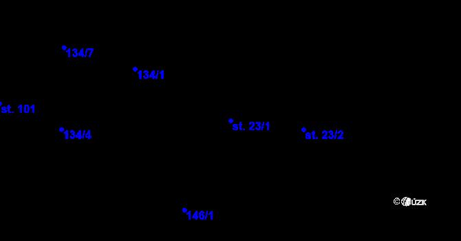 Parcela st. 23/1 v k.ú. Staré Hutě na Moravě, Katastrální mapa