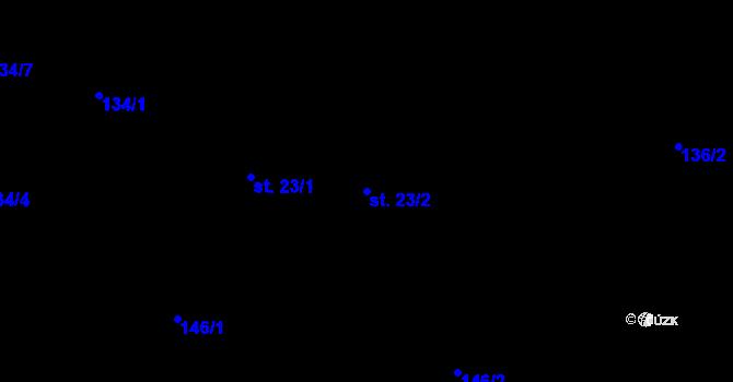 Parcela st. 23/2 v k.ú. Staré Hutě na Moravě, Katastrální mapa