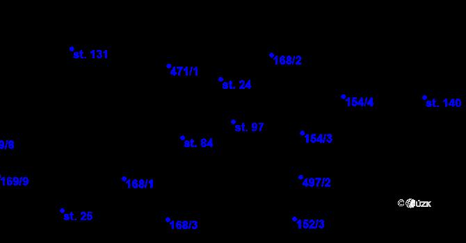 Parcela st. 97 v k.ú. Staré Hutě na Moravě, Katastrální mapa