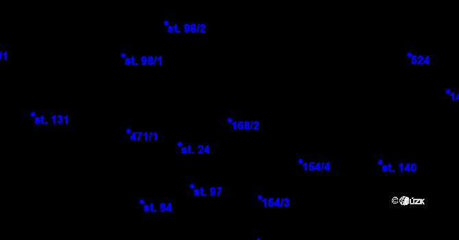 Parcela st. 168/2 v k.ú. Staré Hutě na Moravě, Katastrální mapa
