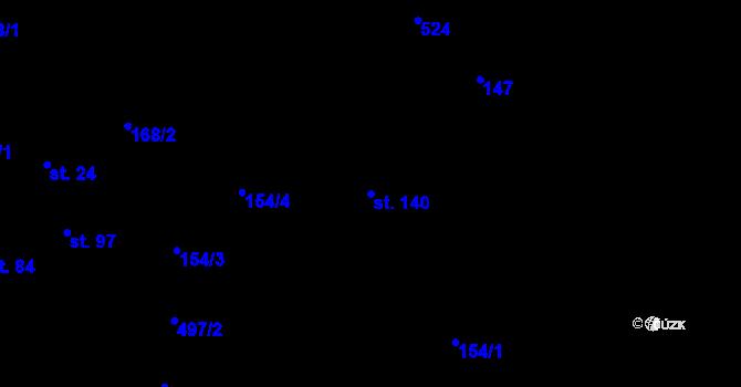 Parcela st. 140 v k.ú. Staré Hutě na Moravě, Katastrální mapa