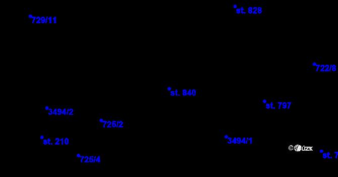 Parcela st. 840 v k.ú. Staré Křečany, Katastrální mapa