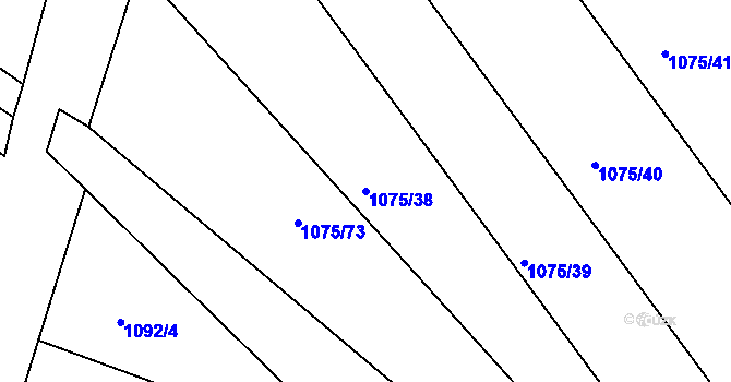 Parcela st. 1075/38 v k.ú. Starovice, Katastrální mapa