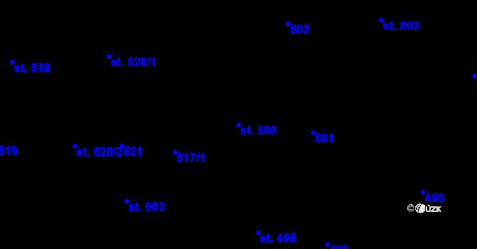 Parcela st. 500 v k.ú. Stěbořice, Katastrální mapa