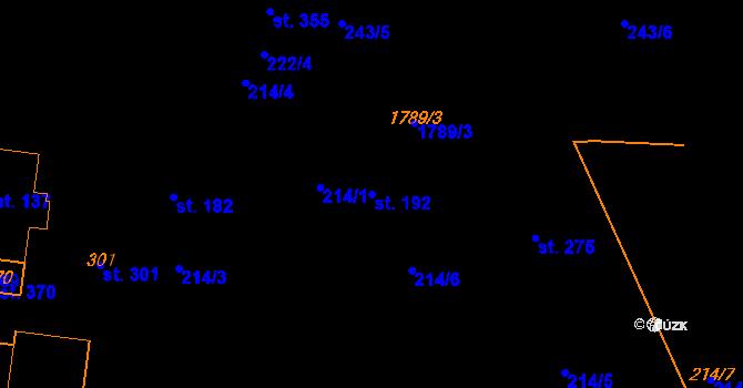 Parcela st. 192 v k.ú. Studánka u Tachova, Katastrální mapa