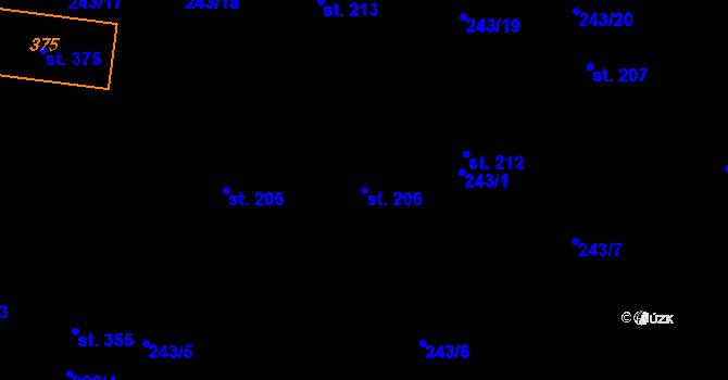Parcela st. 206 v k.ú. Studánka u Tachova, Katastrální mapa