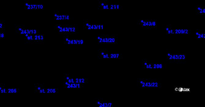 Parcela st. 207 v k.ú. Studánka u Tachova, Katastrální mapa