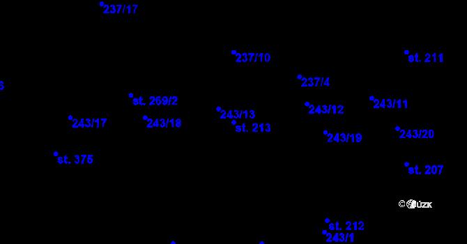 Parcela st. 213 v k.ú. Studánka u Tachova, Katastrální mapa