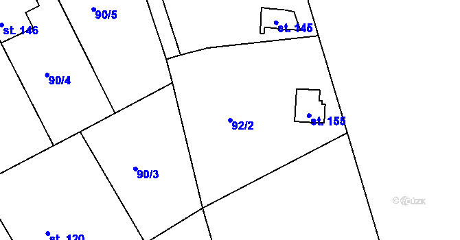 Parcela st. 92/2 v k.ú. Nové Hraběcí, Katastrální mapa