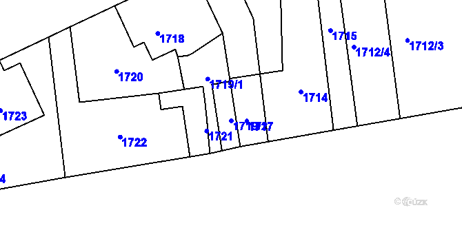 Parcela st. 1719/2 v k.ú. Motyčín, Katastrální mapa