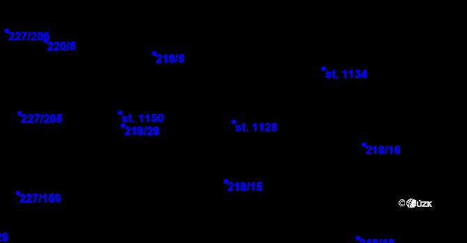 Parcela st. 1128 v k.ú. Hnidousy, Katastrální mapa