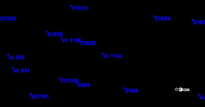 Parcela st. 1130 v k.ú. Hnidousy, Katastrální mapa