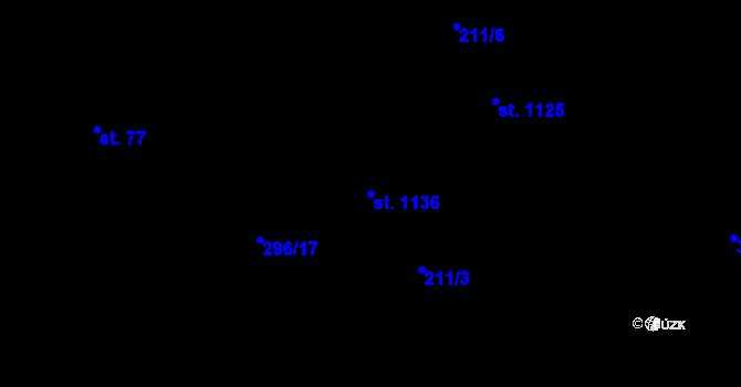 Parcela st. 1136 v k.ú. Hnidousy, Katastrální mapa