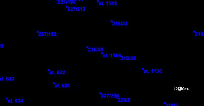 Parcela st. 1166 v k.ú. Hnidousy, Katastrální mapa