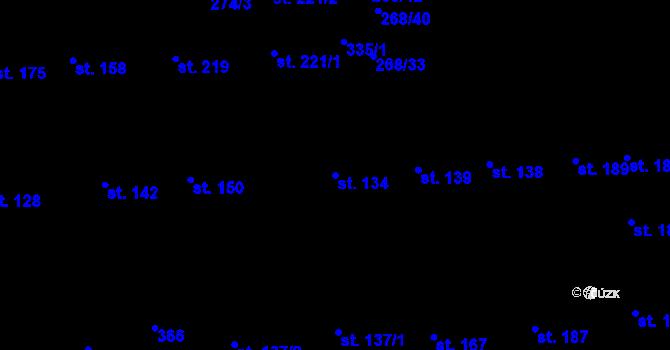 Parcela st. 134 v k.ú. Hnidousy, Katastrální mapa