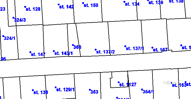 Parcela st. 137/2 v k.ú. Hnidousy, Katastrální mapa