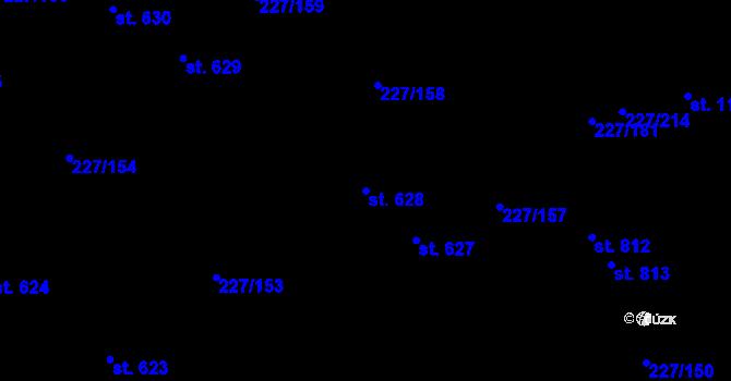 Parcela st. 628 v k.ú. Hnidousy, Katastrální mapa