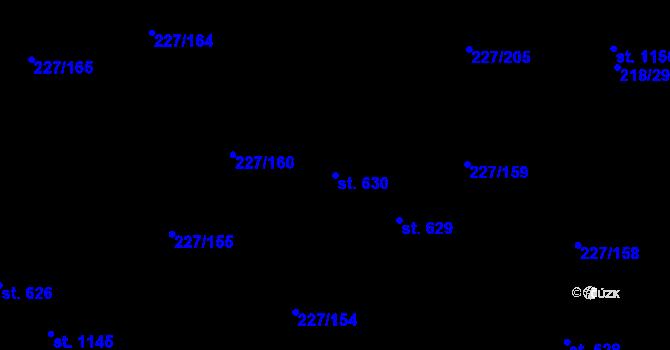 Parcela st. 630 v k.ú. Hnidousy, Katastrální mapa