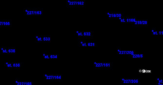 Parcela st. 631 v k.ú. Hnidousy, Katastrální mapa