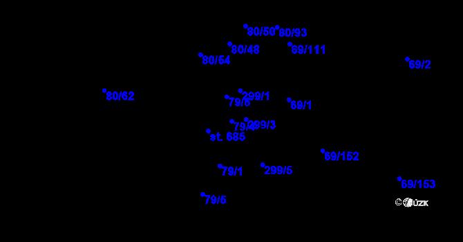 Parcela st. 79/4 v k.ú. Hnidousy, Katastrální mapa