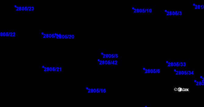 Parcela st. 2805/5 v k.ú. Teplice, Katastrální mapa