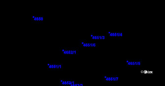 Parcela st. 4651/6 v k.ú. Teplice, Katastrální mapa