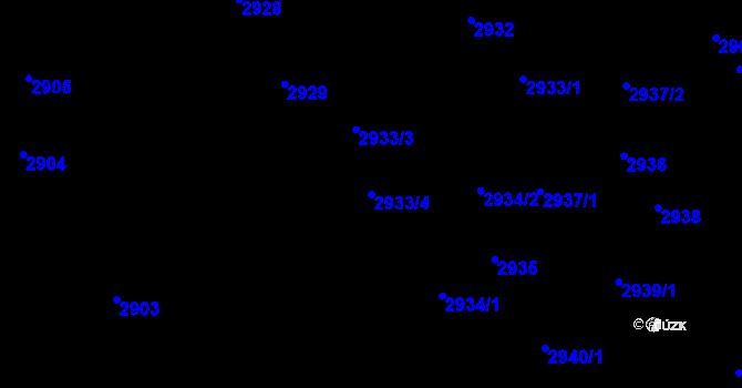 Parcela st. 2933/4 v k.ú. Teplice, Katastrální mapa
