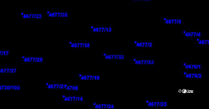 Parcela st. 4677/32 v k.ú. Teplice, Katastrální mapa