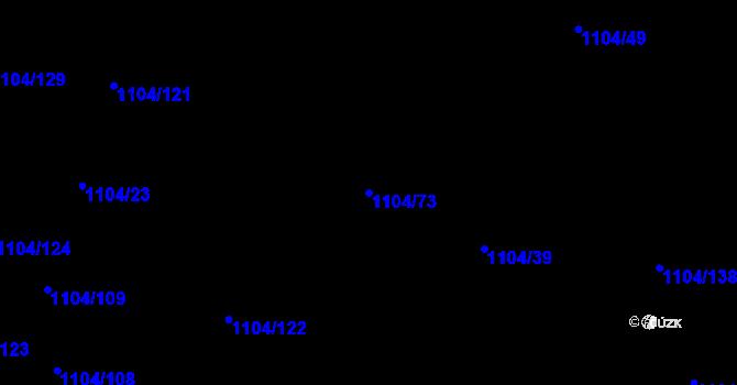Parcela st. 1104/73 v k.ú. Teplice-Trnovany, Katastrální mapa